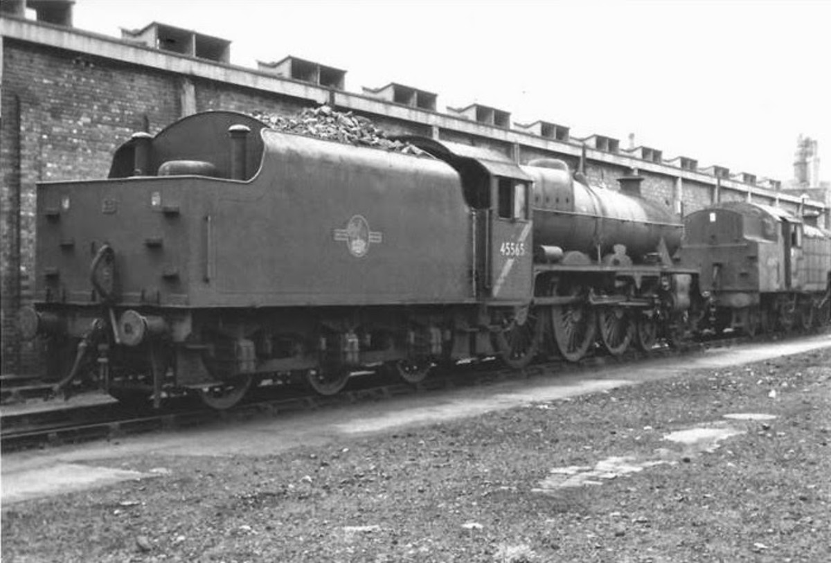 Jubilee 45565 'Victoria' at Low Moor, Bradford shed- note diagonal cabside stripe, denoted loco was not to run  under the wires on the West Coast Main Line (Euston-Carlisle-Glasgow)