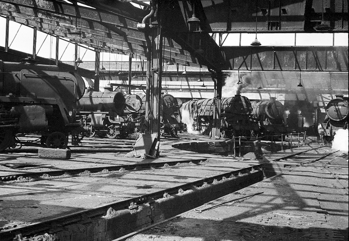 An interior view by the turntable in Saltley's ex-LMS mpd, Warwickshire