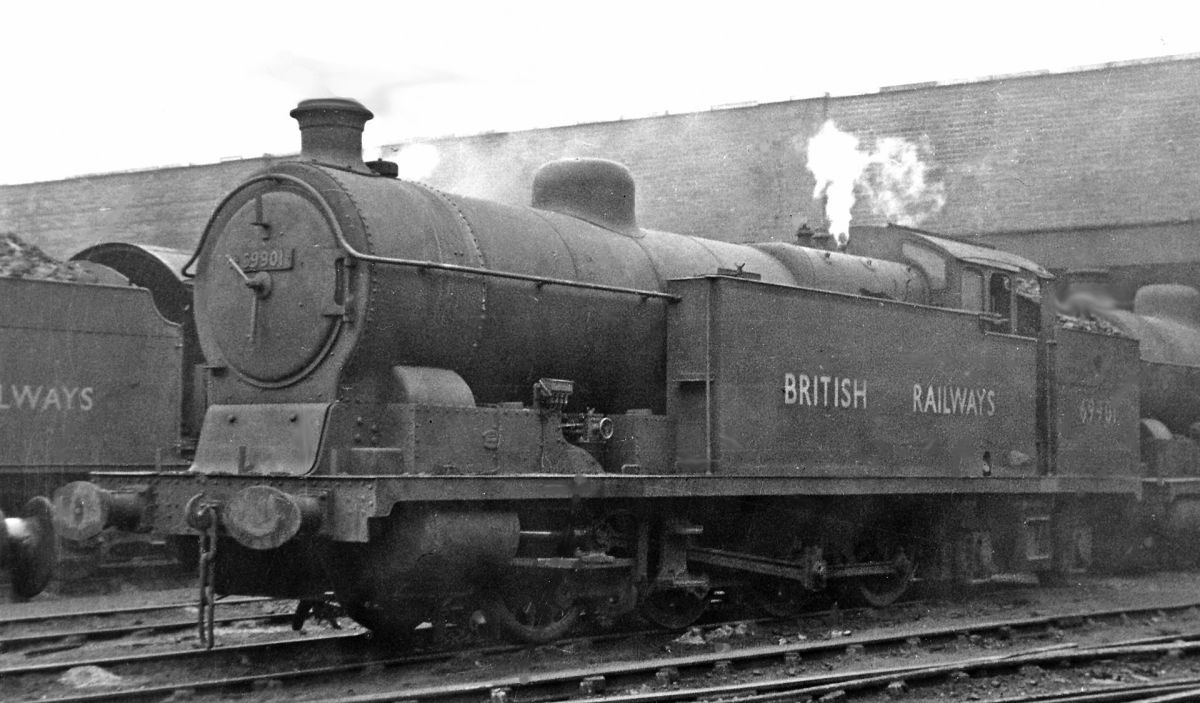 Ex-GC Robinson Class 8A, LNER Q4  0-8-0 69901 at Mexborough mpd,rests in the open