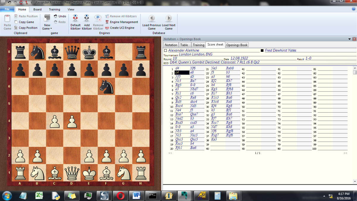 Picture 5-1 - Chessbase Reader, another of many UCI-Compatible chess programs