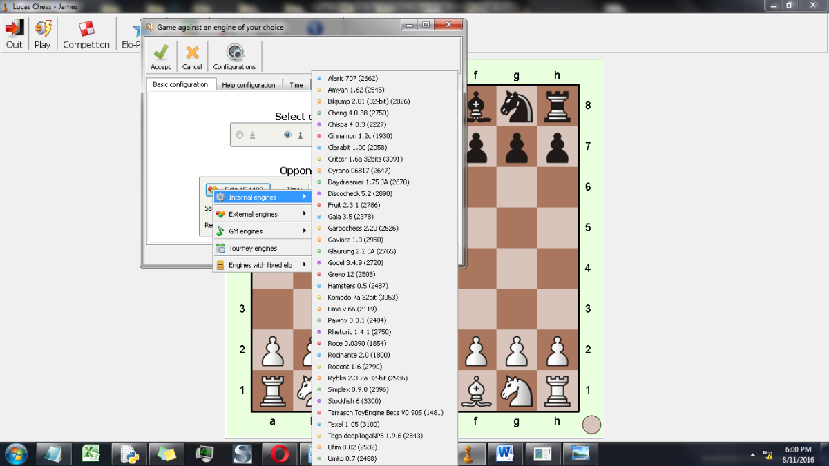 Here's a screenshot of the UCI Chess Engines in Lucas GUI.