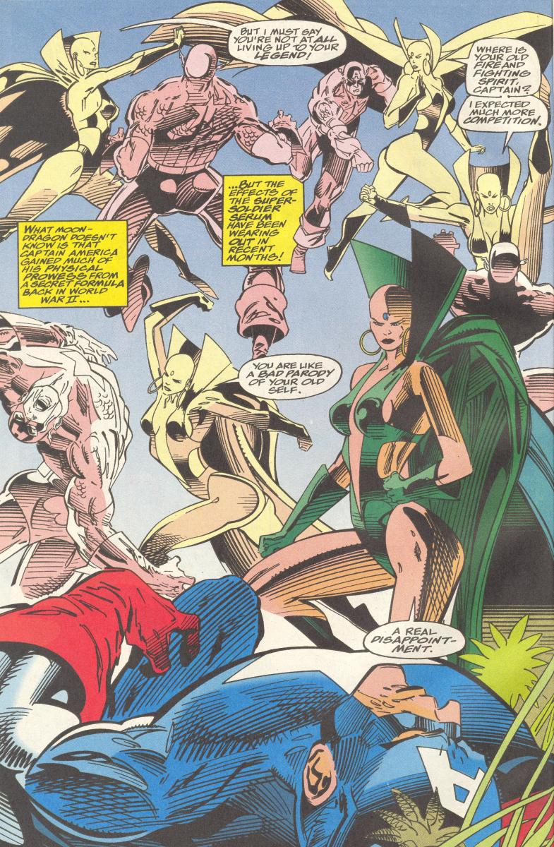 Moondragon versus Captain America - A psychic that might use powers to discover he's a subversive agent