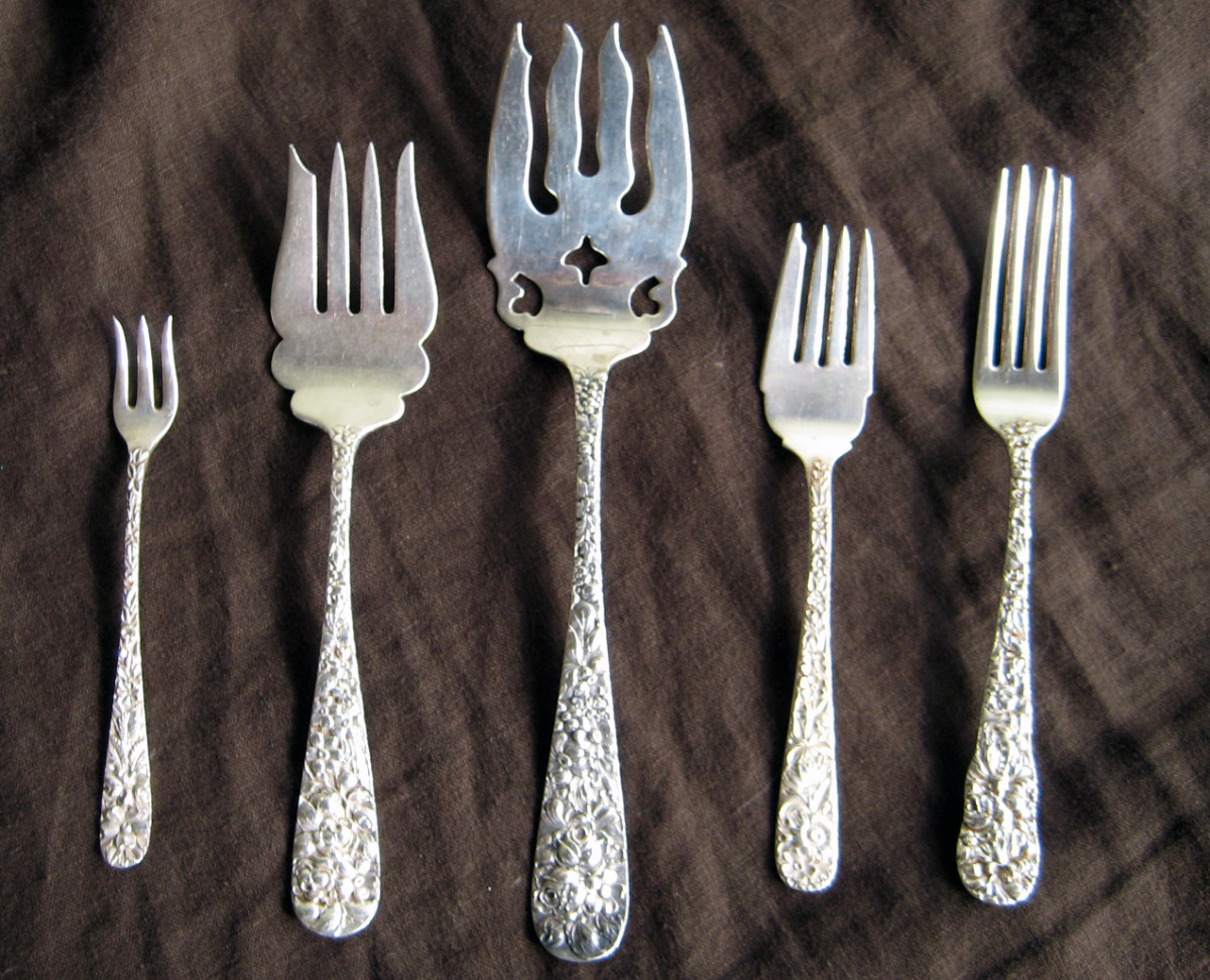 Sterling silver forks in Stieff's Rose pattern.