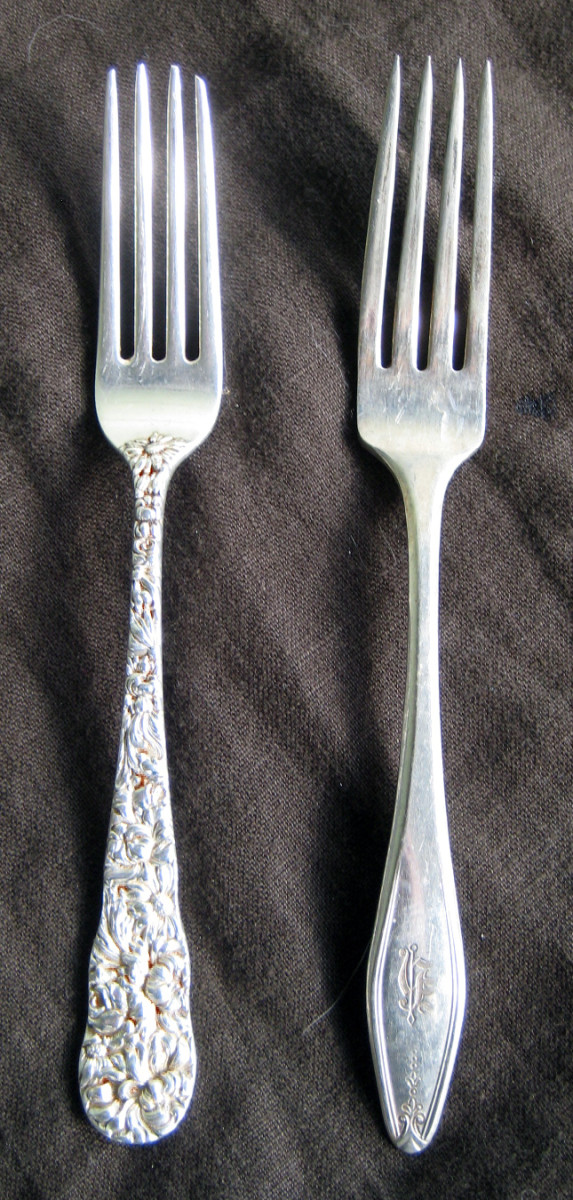 Sterling on the left, silver plate on the right