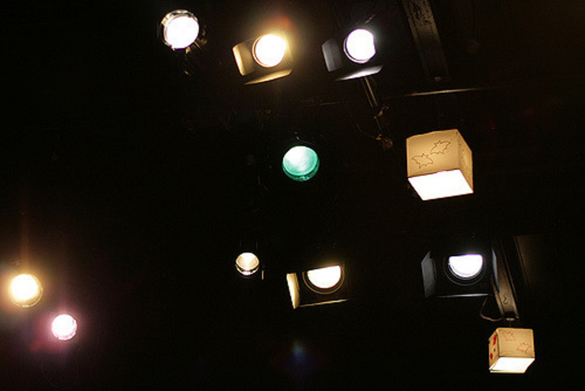 A typical stage lighting grid