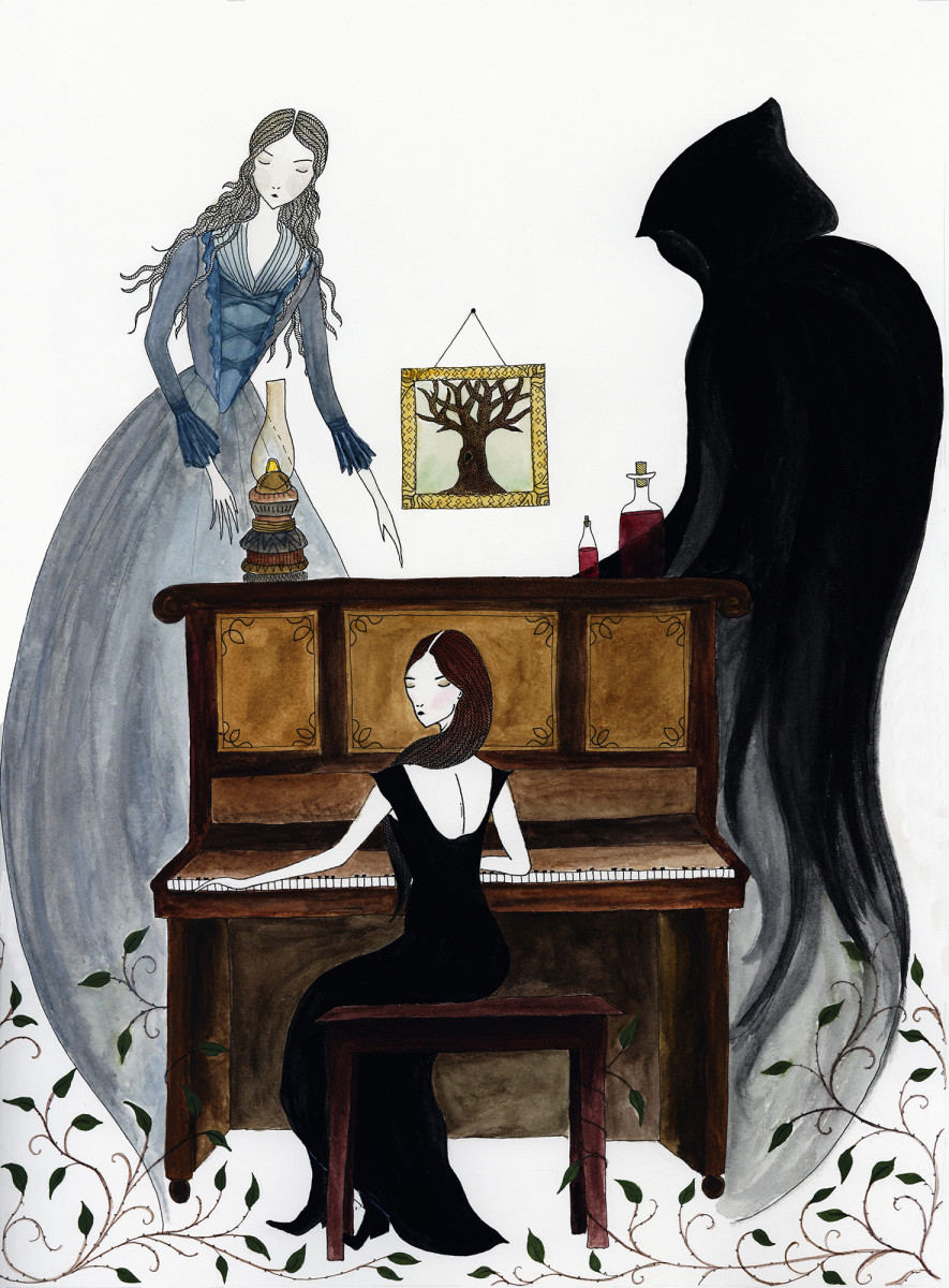 Artist Giada Rose's illustration of Lucy at the piano with two restless spirits beside her.