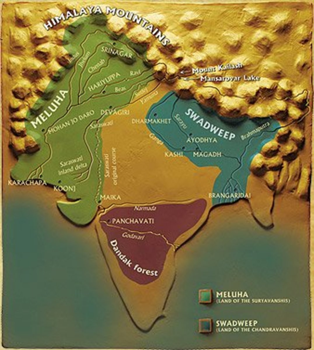 Map of Meluha and the other places depicted in the novel
