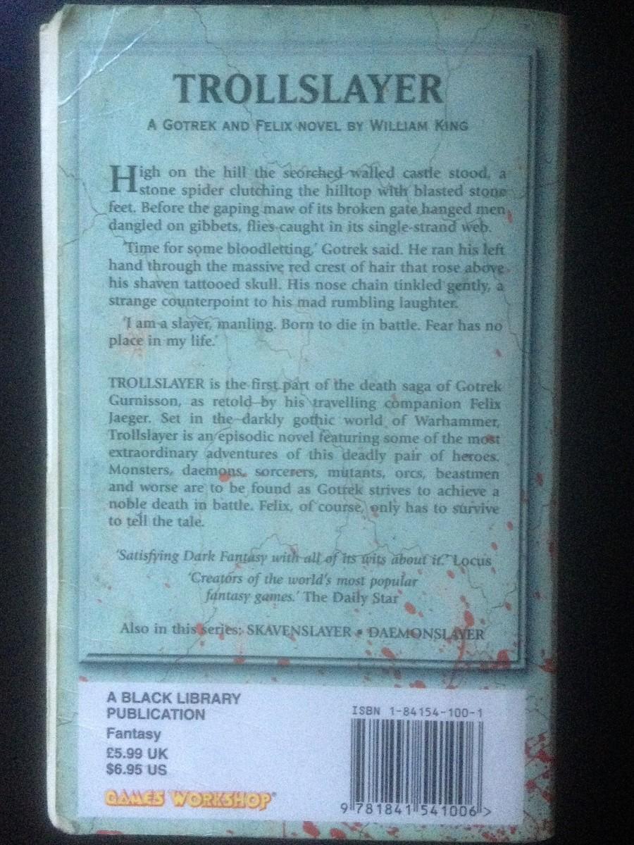 "Back cover of ""Trollslayer"""