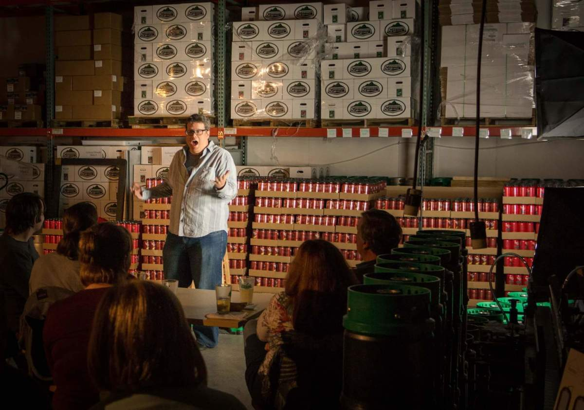 This is just a gratuitous photo of me performing at my friend's show in a cidery.