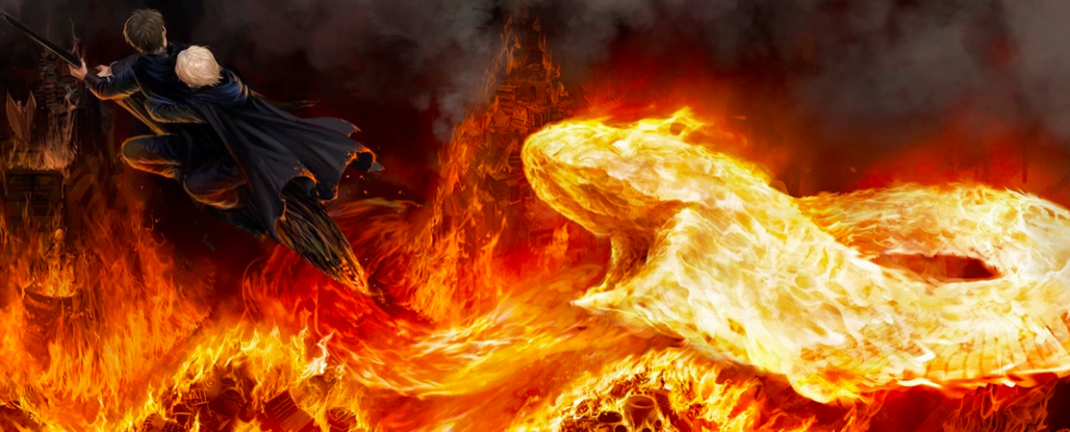 Harry and Draco fleeing from Fiendfyre