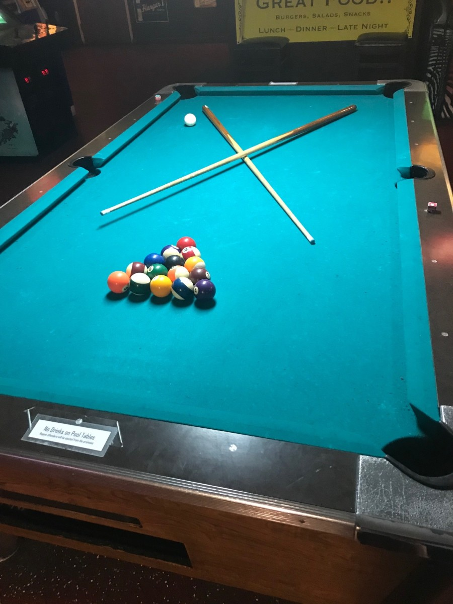 If you ever see a racked table with two cues crossed, it means the players will return shortly and are likely using the restroom, getting a drink or taking a smoke break. Don't make the mistake of thinking it's a free table.