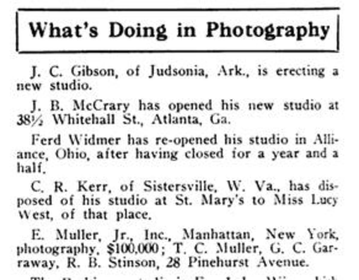 In an issue of the Bulletin of Photography from 1919