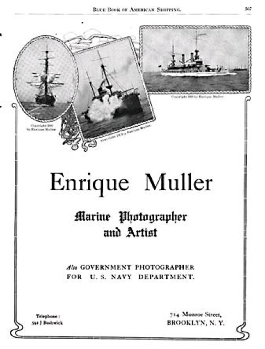 Full page ad taken out by Muller in the Blue Book of American Shipping