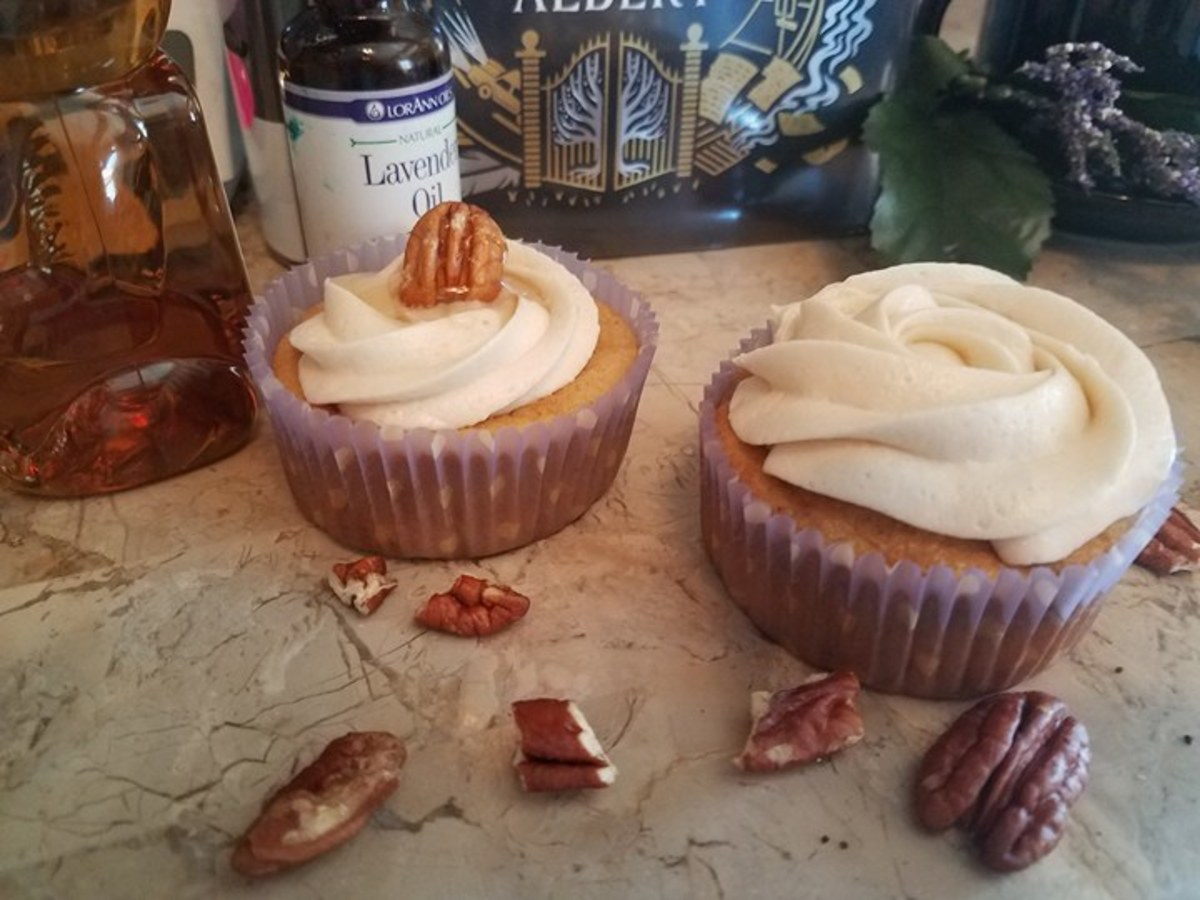 Butter Pecan Cupcakes With Honey Lavender Frosting