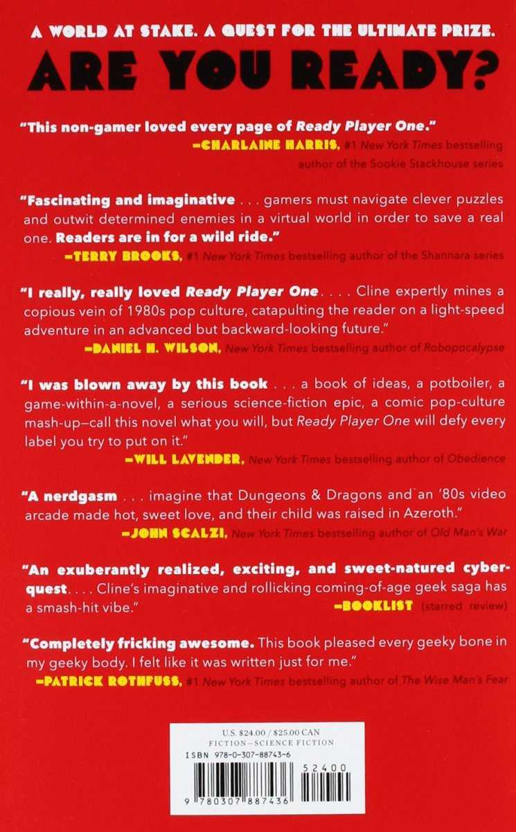 The back cover of Ready Player One.