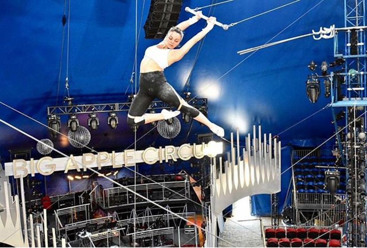 While practicing, Estefani Evans strikes an elegant pose; Big Apple Circus