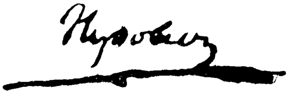Autograph of Napoleon Bonaparte.  A simple signature of Napoleon