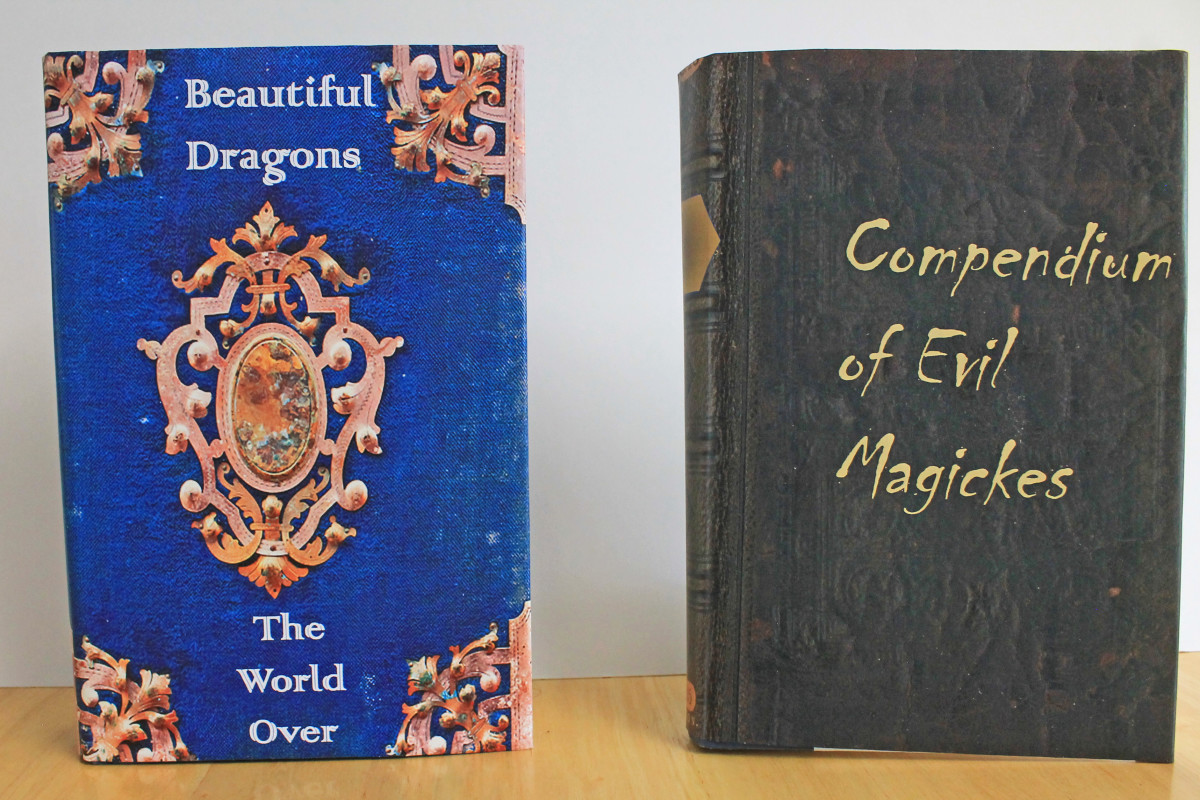 Here are a couple of old hardback books turned into wizarding books using the printable covers from this article.