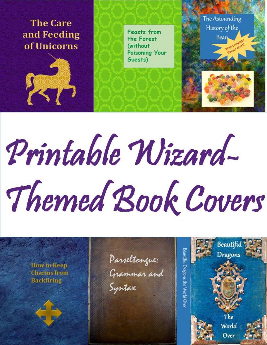 Printable Wizard-Themed Book Covers: These would make good decor for Hogwarts Library for a Harry Potter party.