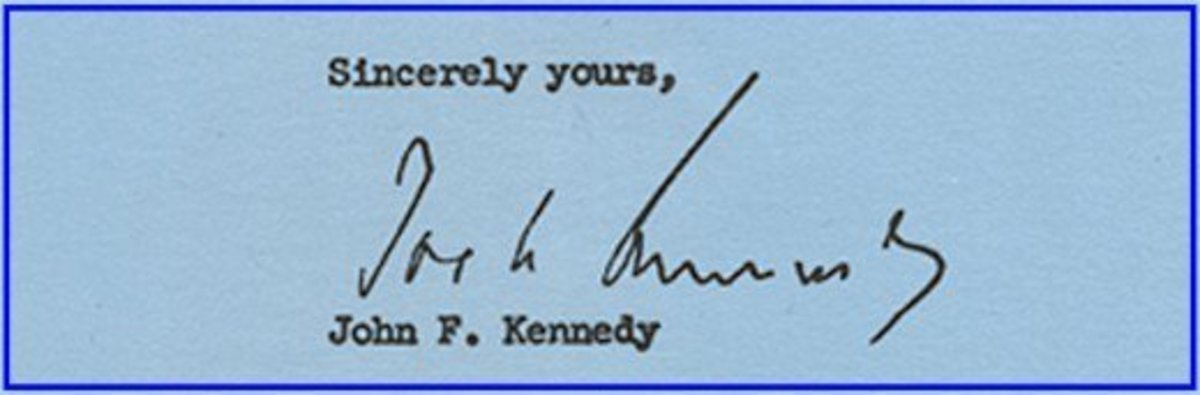This is a John F. Kennedy autopen on a letter from 1959.  Autopenned  letters are not authentically signed, but are sometimes fun to collect depending upon the content.