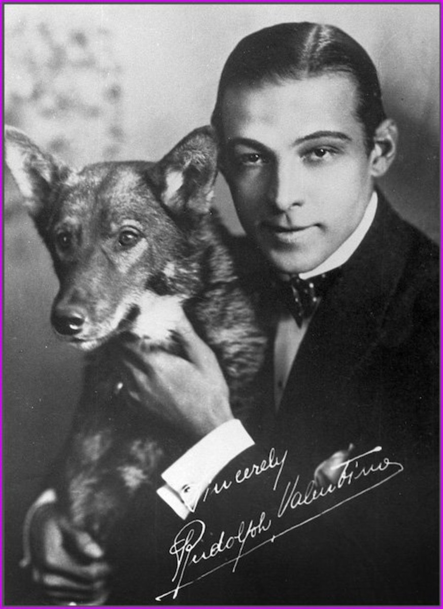 "This vintage 1920s photograph of famed silent film star Rudolph Valentino appears to be signed in white ink, but in fact, it's a pre-printed facsimile ""signature."""