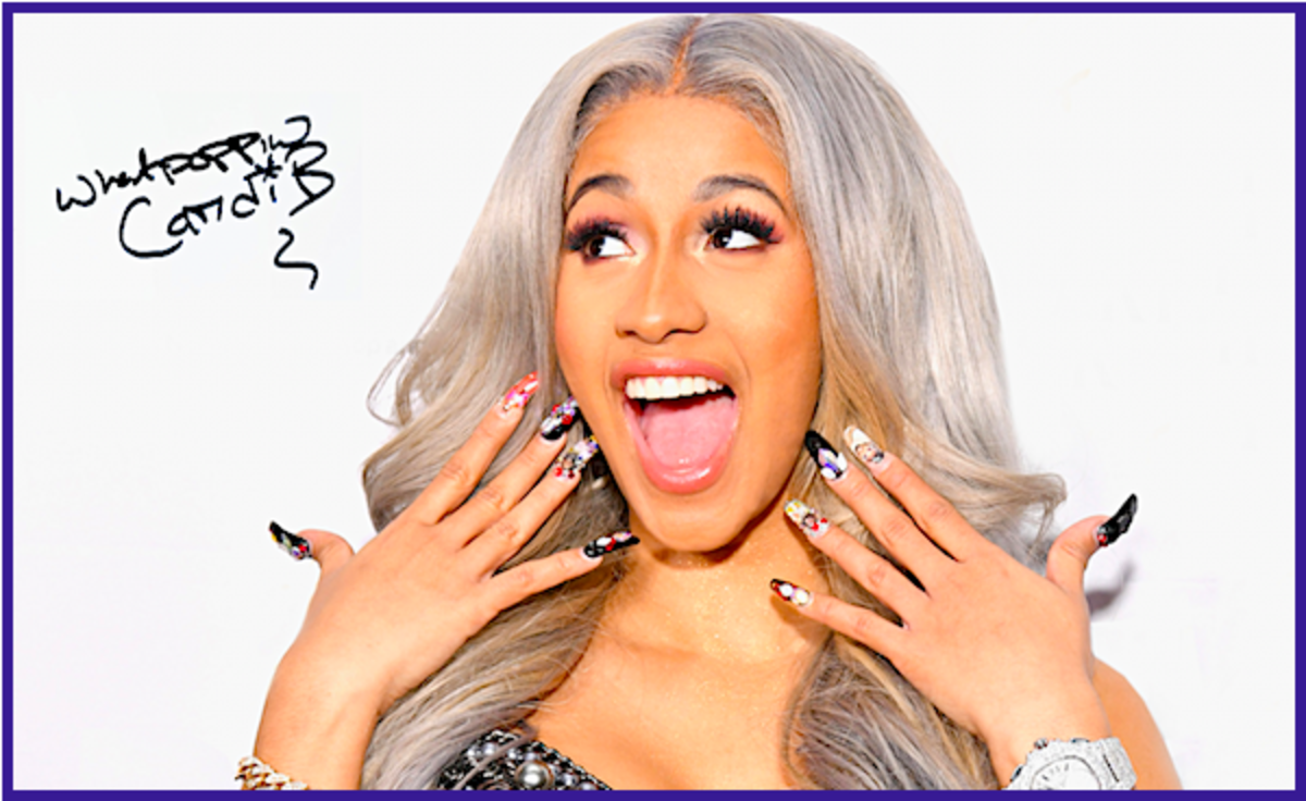 "If you were to write popular singer Cardi B and ask for an autographed photo, you would probably receive a photo like this.  Unfortunately, it has a pre-printed ""signature.""  This same signature imprint is also found on different poses."