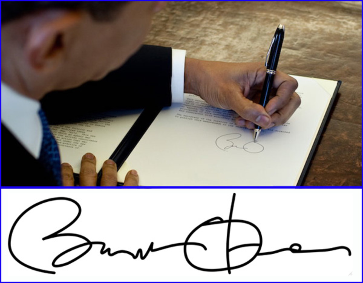 Barack Obama's signature on a card or piece of paper is worth $50 to $100.  His signed photographs can sell for $150 to $300.
