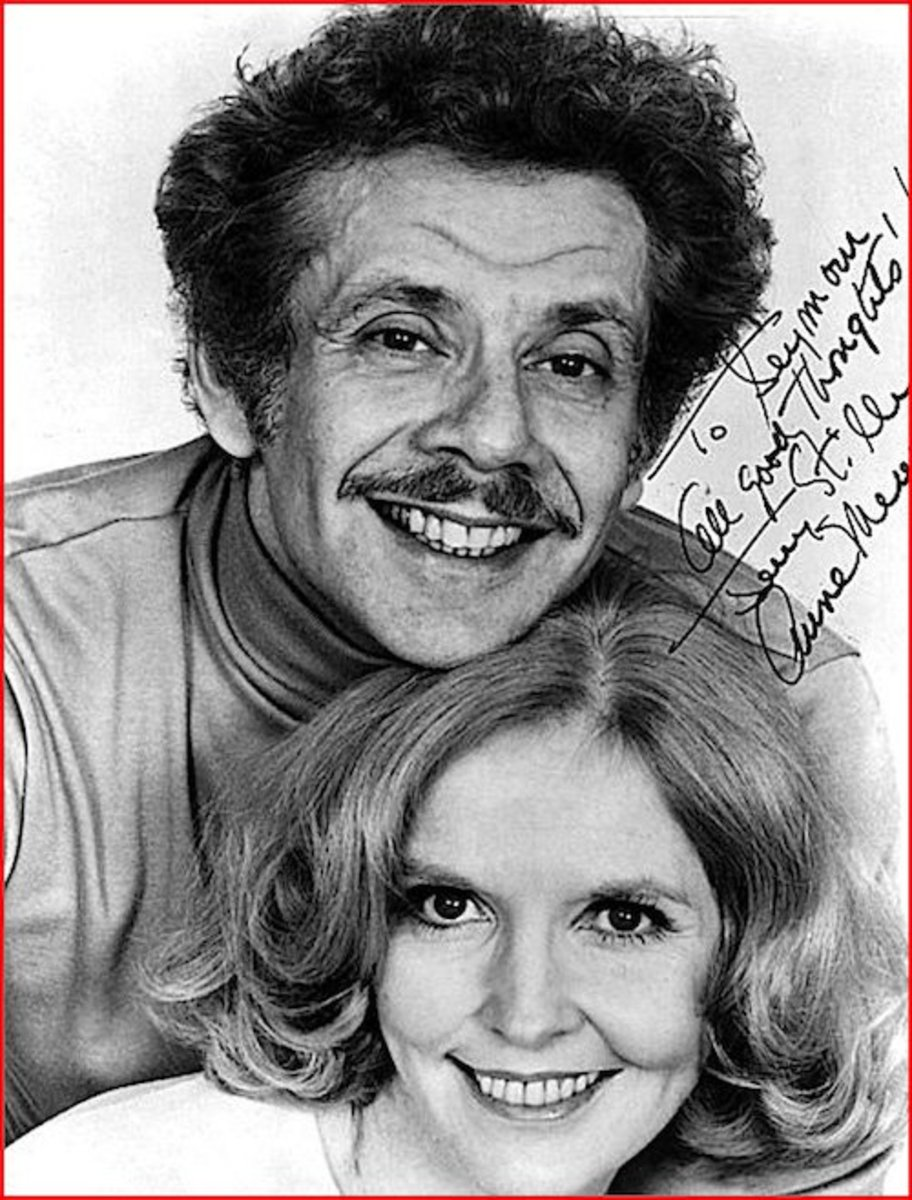"Comedians Jerry Stiller and Anne Meara.  Parents of actor Ben Stiller. This is an authentic, hand-signed photo.  Notice it is personalized to ""Seymour."""