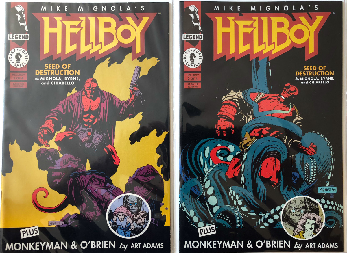 Hellboy: Seed of the Demon issues #1 and #2 by Mike Mignola and John Byrne. Comics published by Dark Horse.