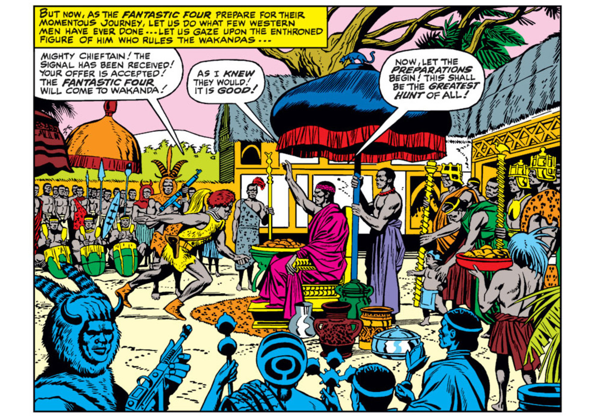 Debut of Wakanda and not yet named T'Challa in Fantastic Four #52.