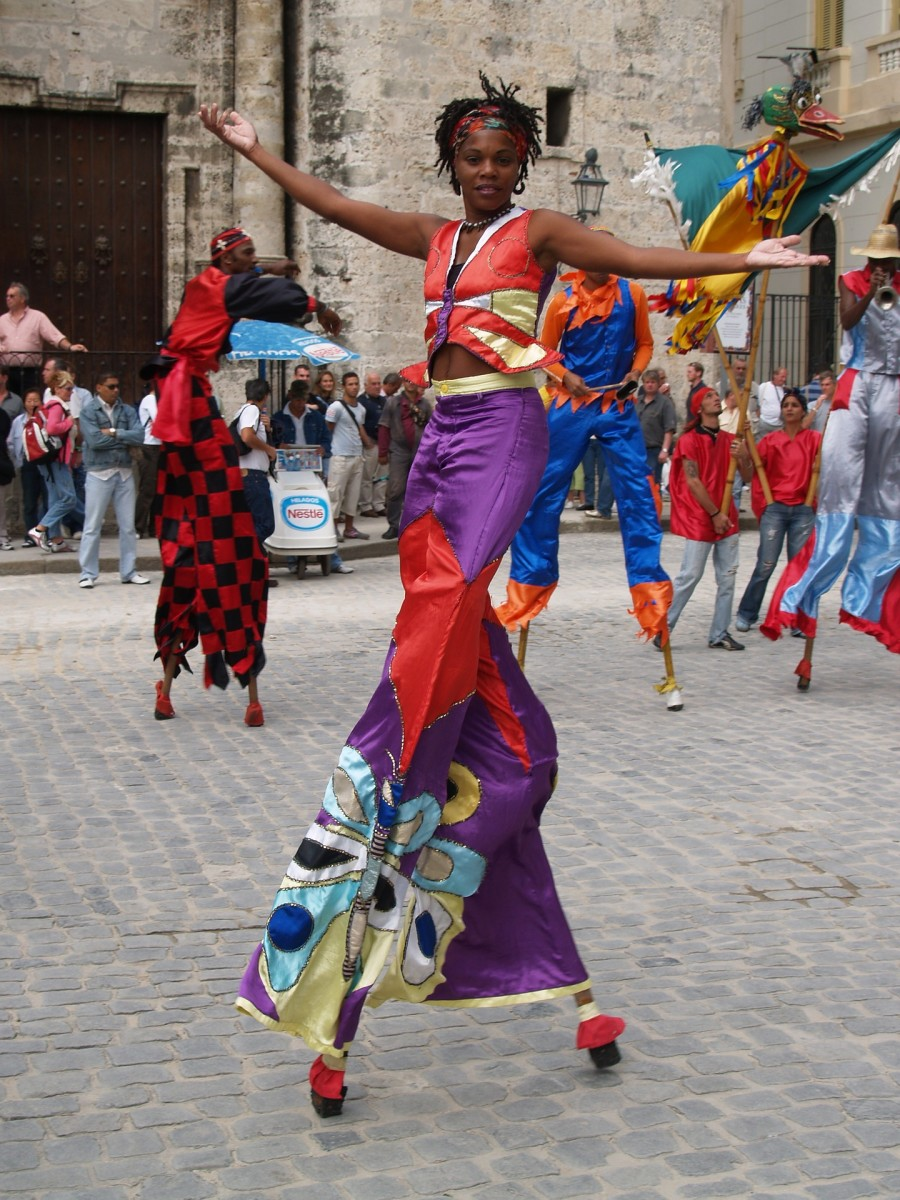 Cuba is one of many Central American countries which enjoy the stilt walkers performing in a parade.