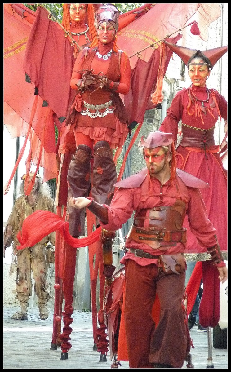 Stilt walkers enjoy performing in medieval events.