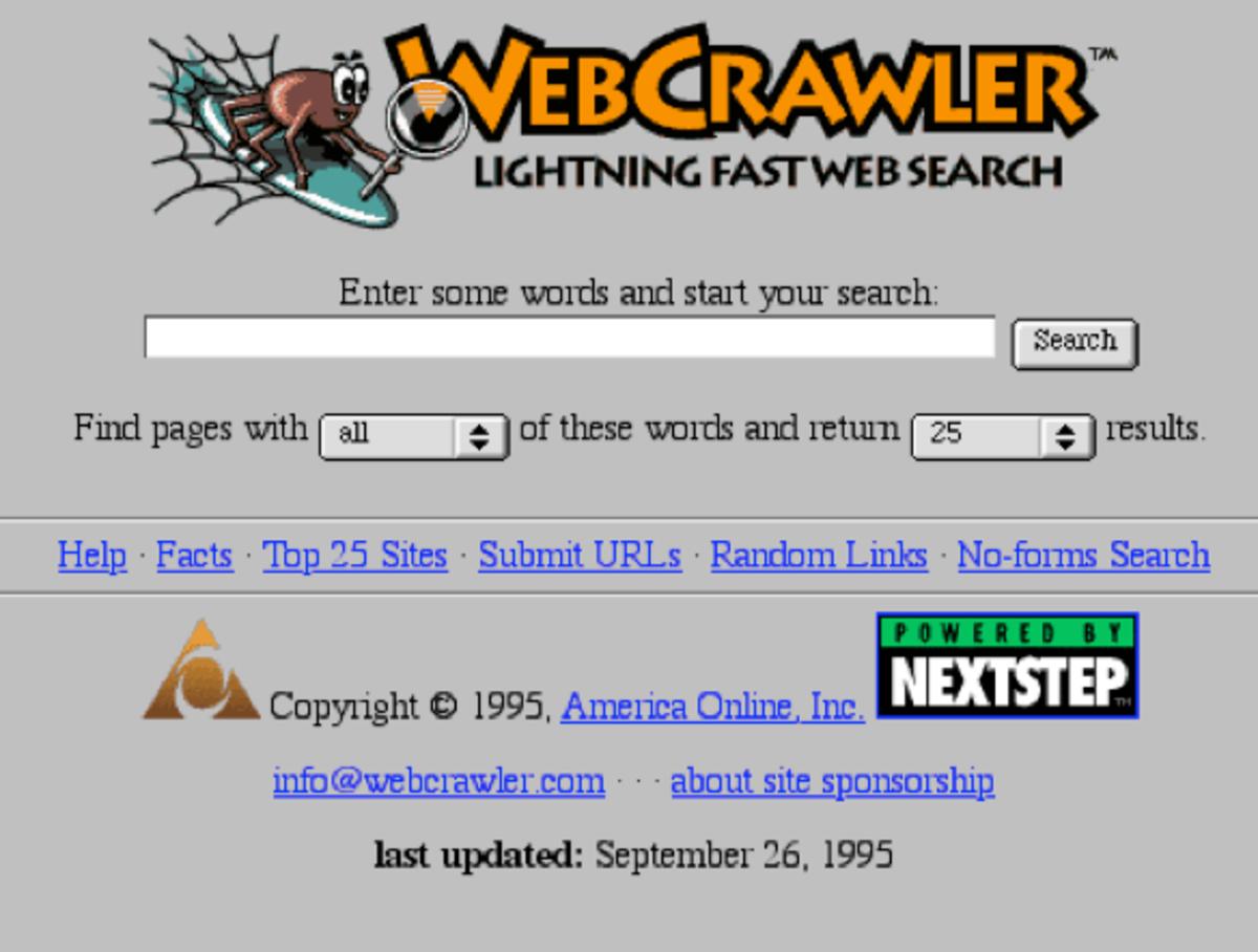 In 1999, WebCrawler was a popular search engine.
