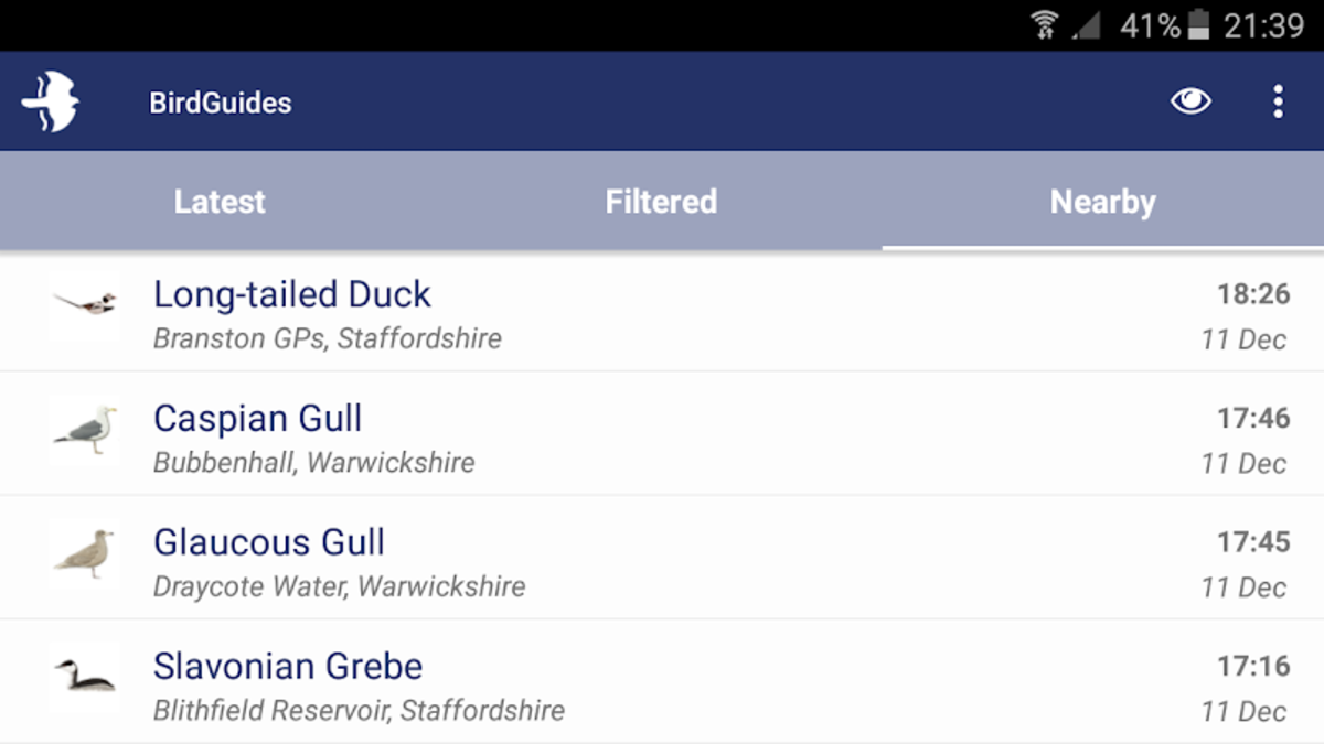 Mobile phone apps like BirdGuides allow me to keep track of rare bird sightings across the UK and near to my location.