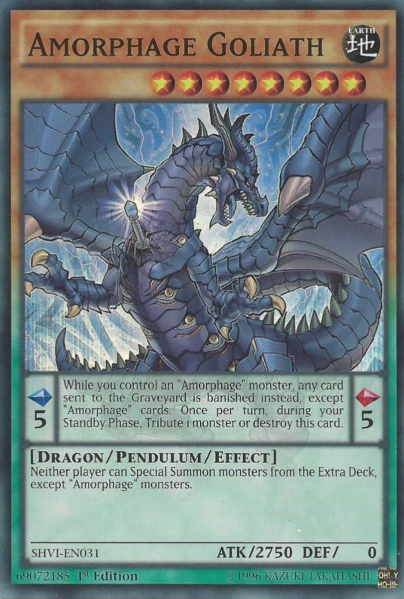 Look at all those eyes on his body.  Remember:  An Amorphage is created when some kind of virus causes a dragon to sprout from a person's body.  The world of Yugioh is a dark place...