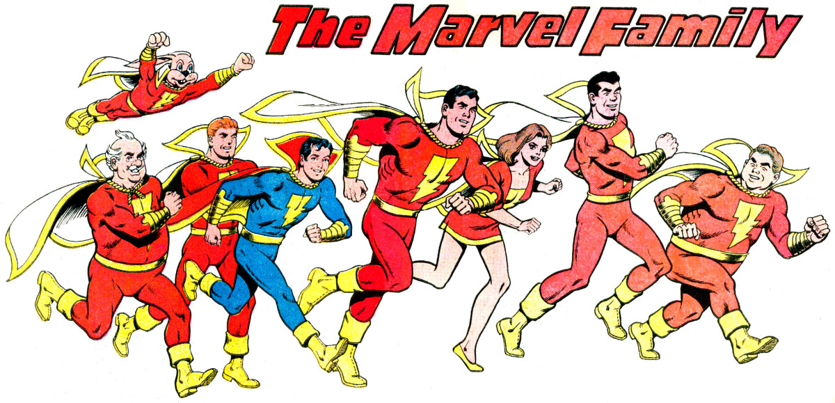 The Marvel Family: left to right: Hoppy, the Marvel Bunny, Uncle Marvel, Hillbilly Marvel, Captain Marvel, Jr., Captain Marvel, Mary Marvel, Tall Marvel, and Fat Marvel