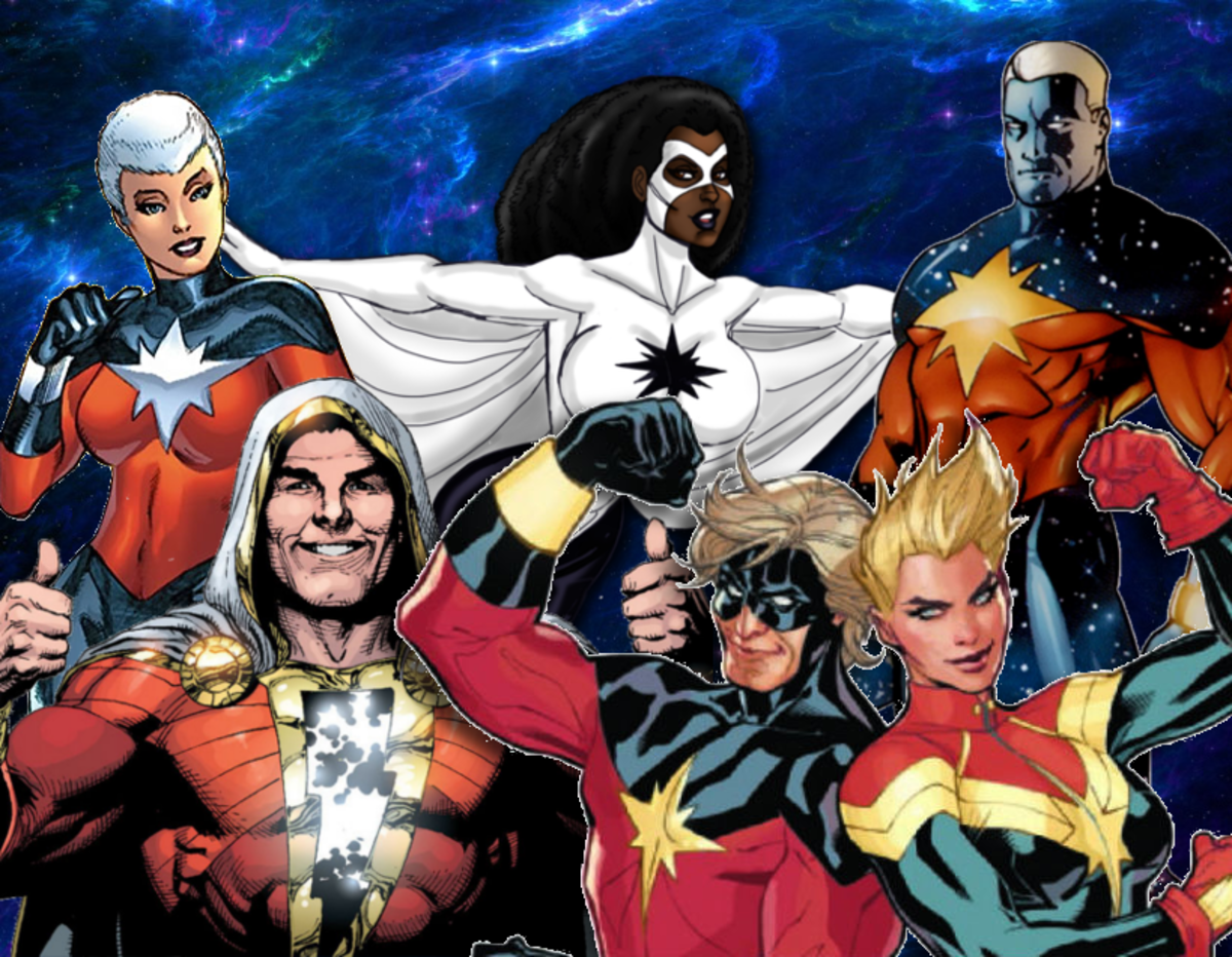 Six Captain Marvels from left to right, Phyla-Vell, Captain Marvel (Shazam!), Monica Rambeau, Captain Mar-Vell, Carol Danvers, and Genis-Vell