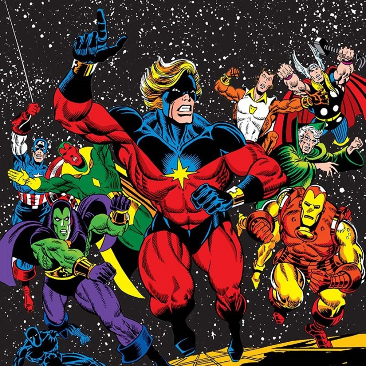 Mar-Vell rallying the Avengers against Thanos