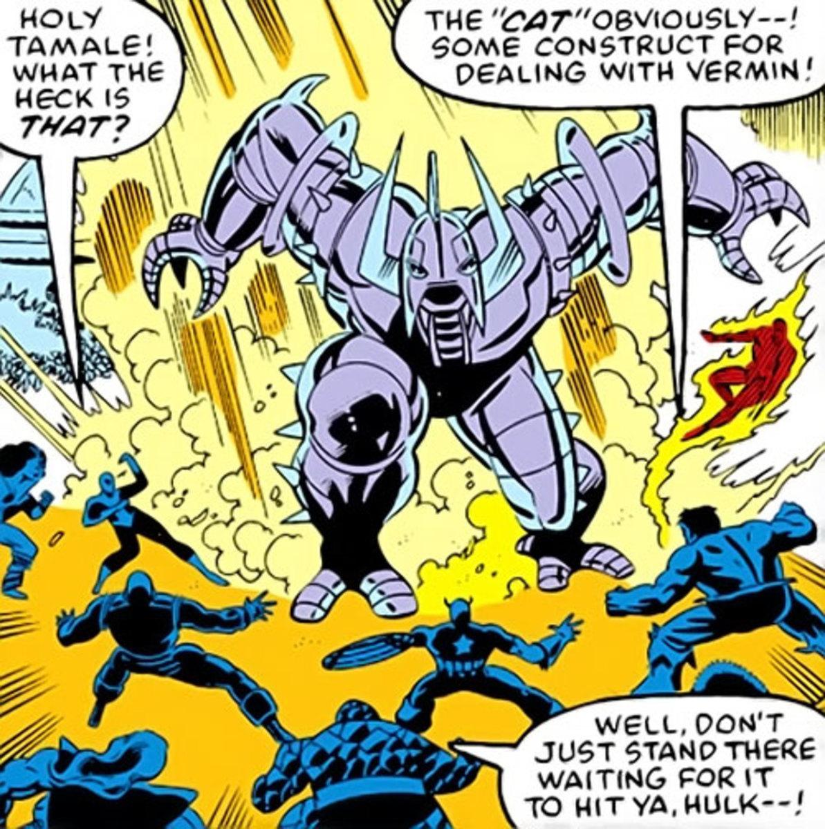 When Galactus views superheroes as mice, he sends the cat.