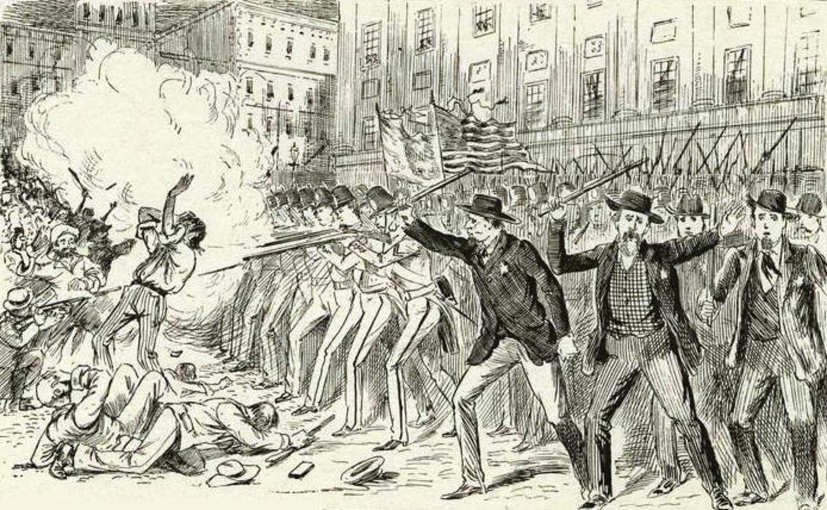 The militia opens fire.