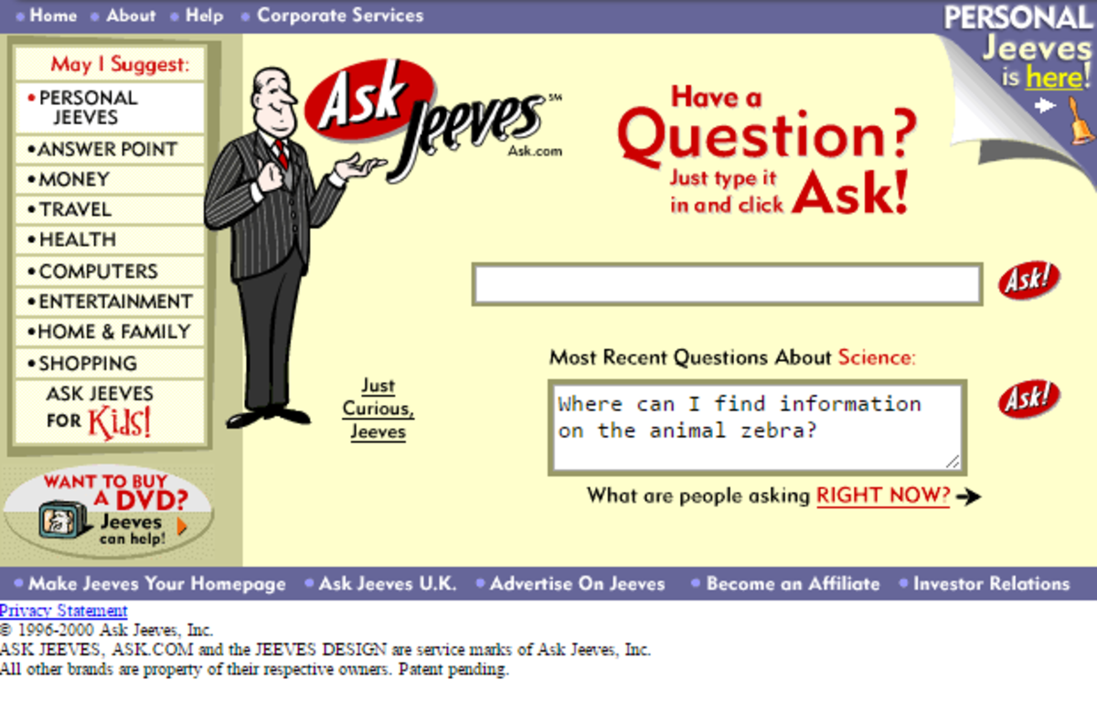Ask Jeeves, a question-answering e-business, was founded in 1996.