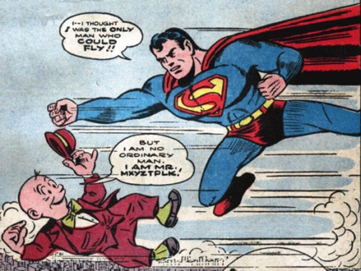 The Golden Age Superman's first encounter with Mxyztplk