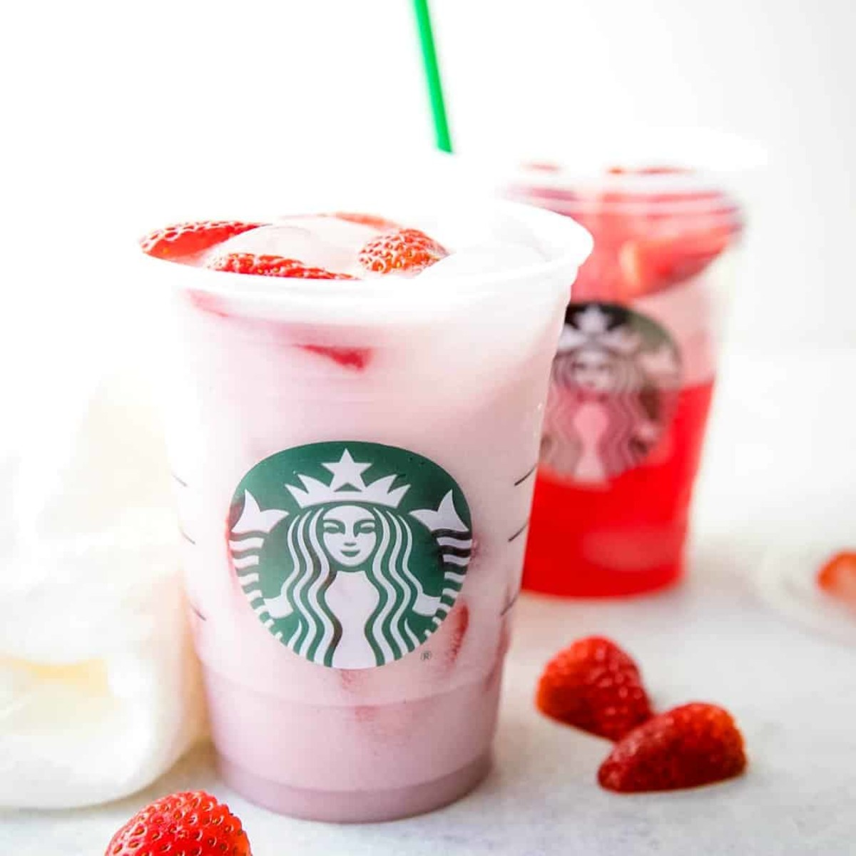 In 2016, the Starbucks pink drink was a popular alternative to the coffee menu. The pink drink is made from coconut milk that is combined with accents of passion fruit and acai berries, and topped with a scoop of strawberries.