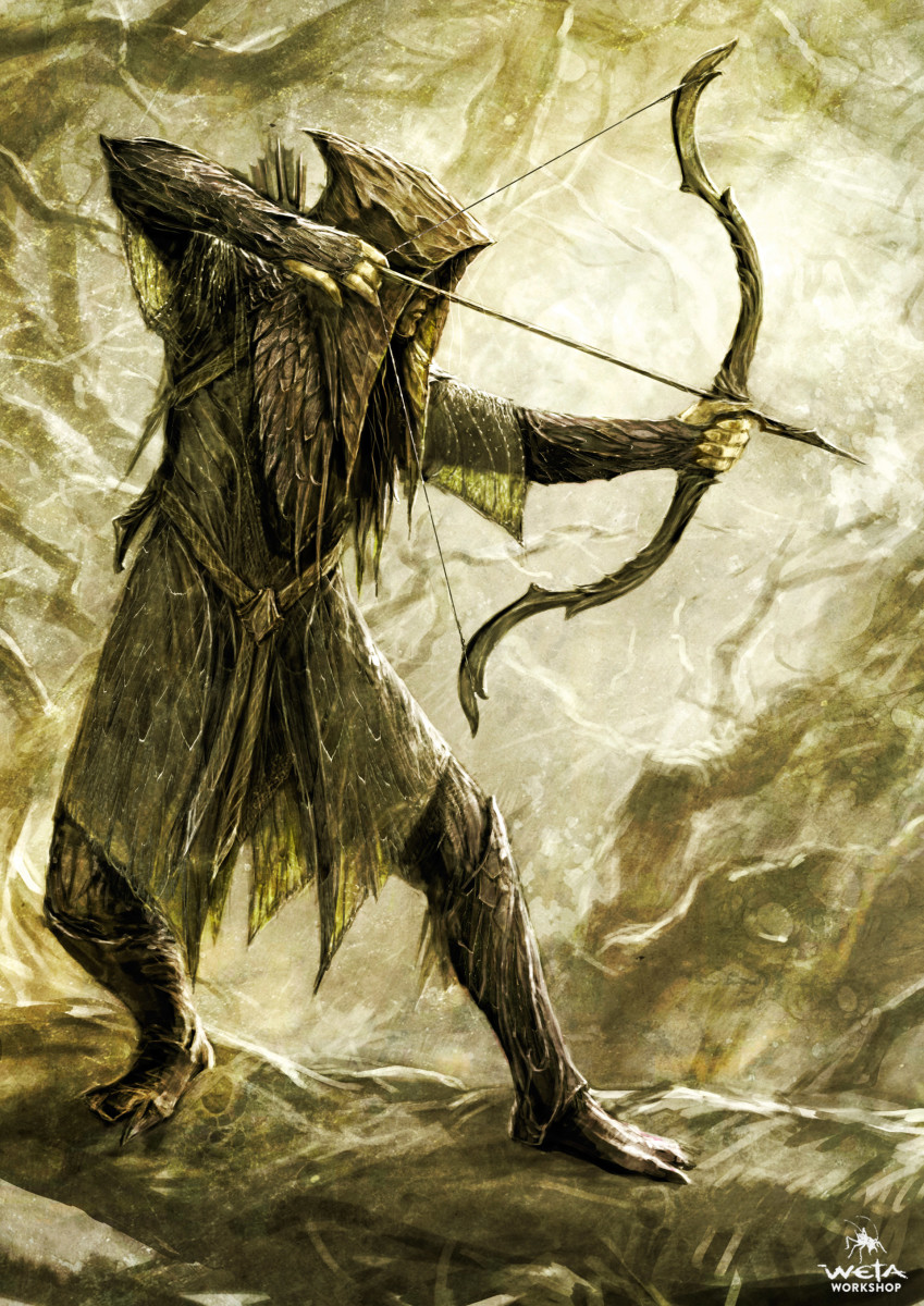 By Weta Workshop.  Early designs for the Mirkwood Elves of the Hobbit movie I think best represent how the Green Elves of Ossiriand would have looked and operated.