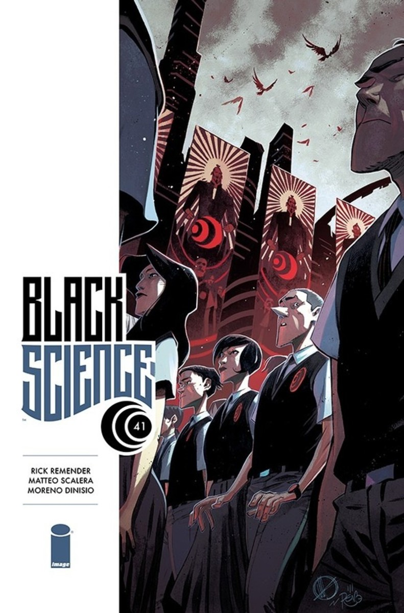 Cover art for issue 41 or Black Science, which is part of vol. 9, art by Scalera.