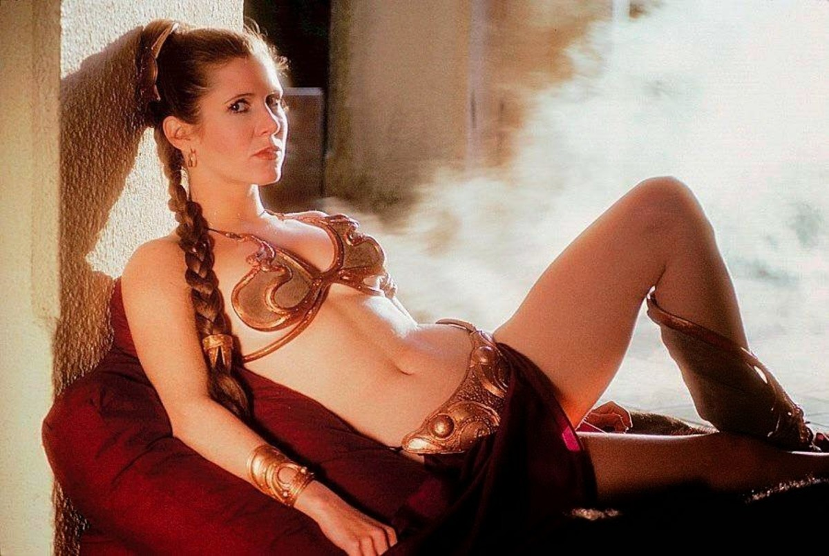 "Princess Leia's infamous ""metal bikini."""