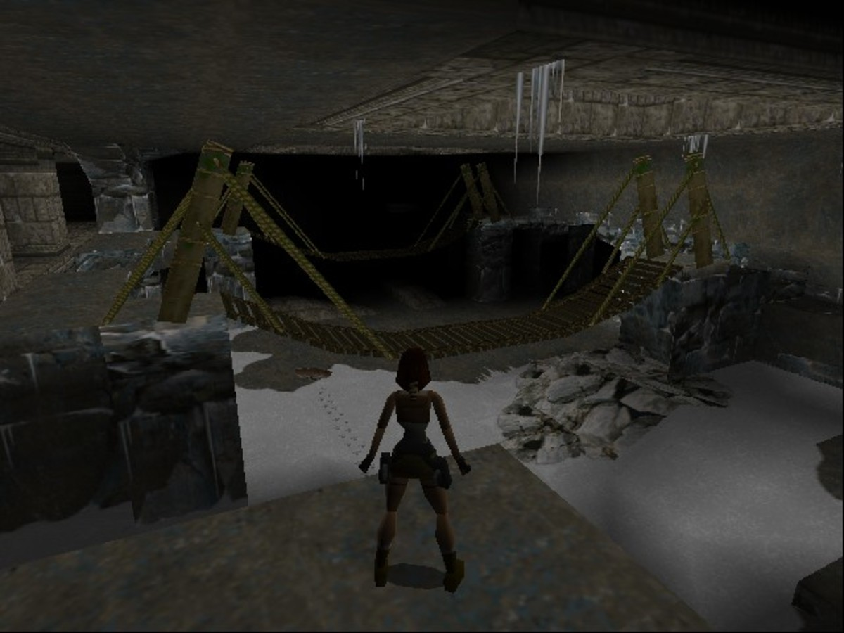 Screenshot from the first level of Tomb Raider, the Caves, taken by myself via Steam.