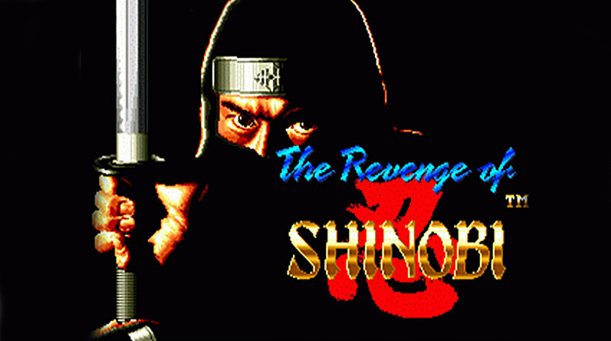The cover for The Revenge of Shinobi. For many players, this image is synonymous with the Sega Genesis and retro ninja video games.