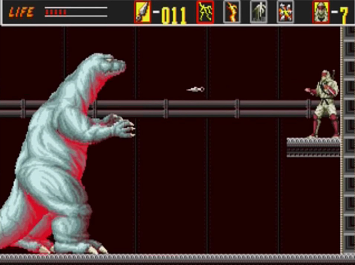 Godzilla, another symbol of Japan, has a cameo in this retro series.
