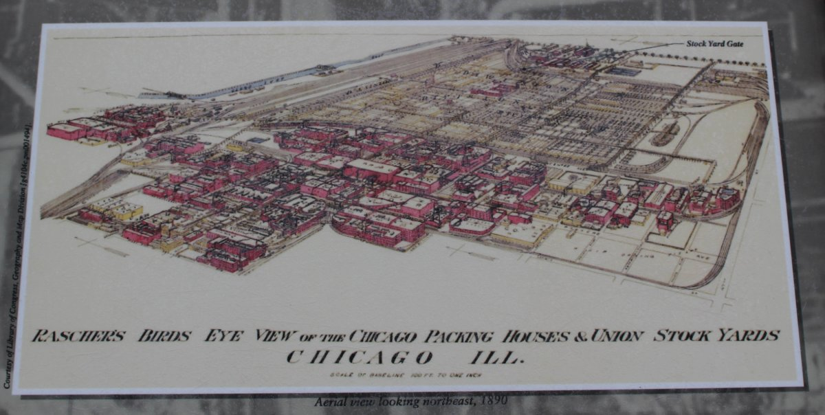 This is one of the displays at the memorial; an overview illustration of the Union Stock Yards circa 1890.
